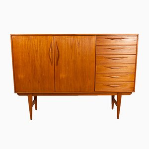 Vintage Danish Tall Teak Sideboard with 6 Drawers, 1960s