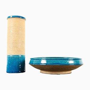 Vintage Danish Ceramic Bowl and Vase by Nils Kähler for Kähler, 1960s, Set of 2