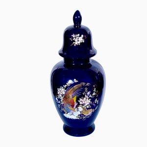 Antique Multicolored Floral Majolica & Glazed Ceramic Cup Vase, 1950s