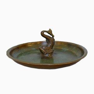 Dänischer Art Deco Aschenbecher aus Bronze & Messing mit Fisch von HF Ildfast, 1930er