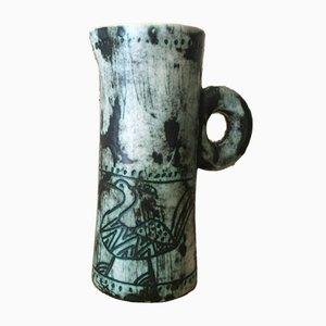 Mid Century Vintage Keramik Krug mit Vogel Motiv von Jacques Blin Circa 1950's