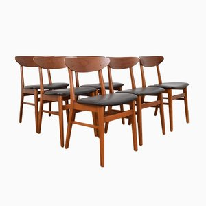 Danish Teak & Leather Dining Chairs from Farstrup Møbler, 1960s, Set of 6