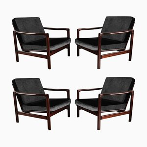 Black Velvet 7752-B Armchairs by Zenon Baczyk for Swarzędzkie Fabryki Mebli, 1960s, Set of 4