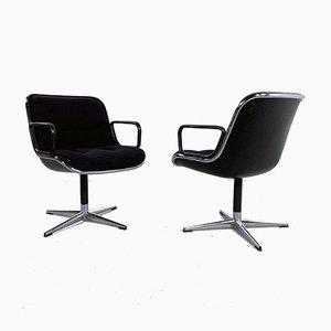 Sedia da ufficio F nera di Charles Pollock per Knoll Inc. / Knoll International, anni '70