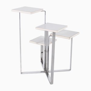 Space Age White Laminate Table & Seating Unit with Chrome-Plated Legs, 1970s