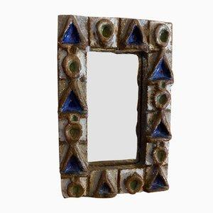 Mid-Century French Ceramic Mirror by Les Argonautes, 1960s