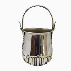 Italian Silver Plated Ice Bucket by Aldo Tura for Macabo, 1950s