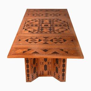 Tavolo da pranzo in stile cubista con intagli in legno di Anton Hanak, anni '90