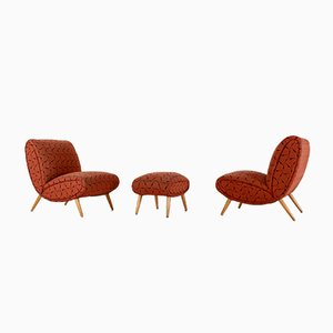 Lounge Chairs & Ottoman by Norman Bel Geddes, 1950s, Set of 3