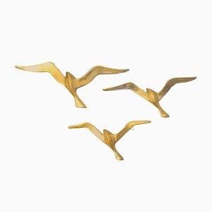 Brass Bird Wall Decoration, 1950s, Set of 3