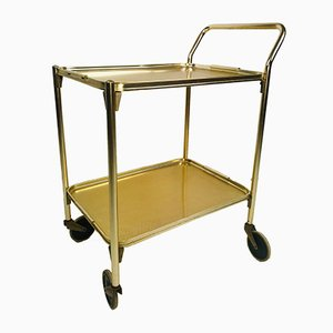 Vintage English Pale Gold Serving Bar Cart from Woodmet, 1960s