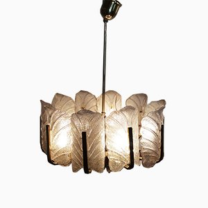 Large Brass & Glass Leaf Ceiling Lamp by Carl Fagerlund for Orrefors, 1960s