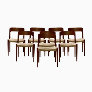 Danish Model 75 Dining Chairs by Niels Otto Moller for JL Moller, 1970s, Set of 8