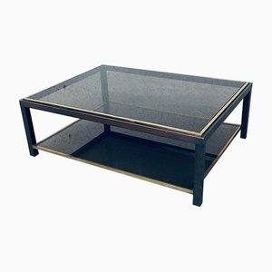 2-Tier Glass Coffee Table in Brass & Copper Metal by Willy Rizzo, 1970s