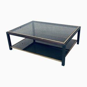 Mesa de centro de vidrio y latón de 2 niveles de Willy Rizzo, años 70