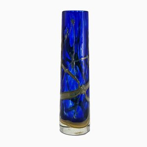 Vintage Hand-Crafted Glass Vase with Iridescent Luster Glaze in the Style of Loetz