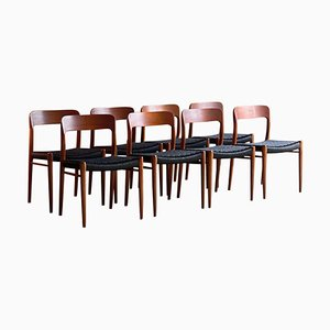 Teak and Paper Cord Model 75 Dining Chairs by Niels Otto Moller for JL Moller, 1970s, Set of 8