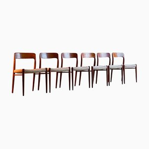Model 75 Dining Chairs by Niels Otto Moller for JL Moller Møbelfabrik, Set of 6