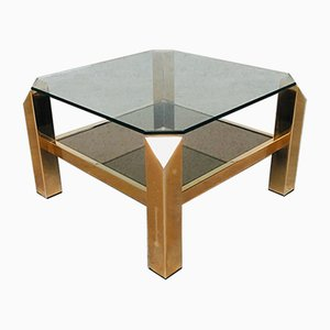 Vintage Modernist Gold Coffee Table from Belgo Chrom / Dewulf Selection, 1970s