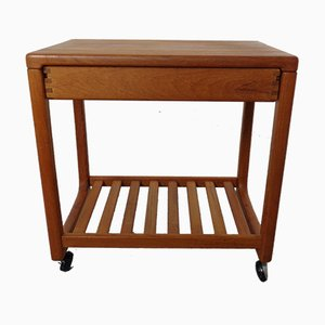 Danish Movable Teak Side Table with Drawer, 1960s