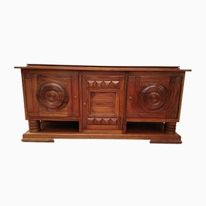 Vintage Walnut 3-Door Buffet Attributed to Charles Dudouyt, 1940s