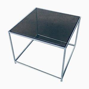 Schmaler quadratischer Beistelltisch aus Metall & Fumé Glas, 1970er
