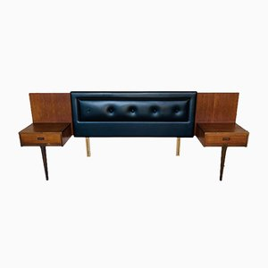 Headboard with Teak Floating Nightstands from Nathan, 1960s, Set of 3
