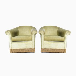 Hollywood Regency Style Light Green Velvet Armchairs, 1960s, Set of 2