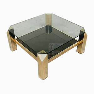Vintage Modernist Brass & Glass Coffee Table from Belgo Chrom / Dewulf Selection, 1980s