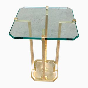 Modernist Patinated Brass & Glass Side Table Model T18 by Peter Ghyczy, 1970s