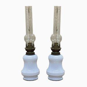 Napoleon III White Opaline Glass Electrified Oil Lamps, Set of 2