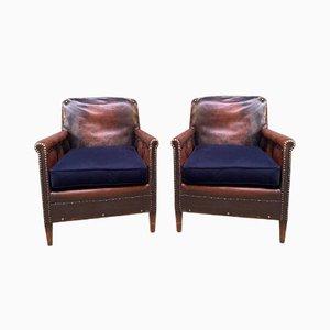 Club chair in similpelle di pelle con cuscini in velluto blu notte, Francia, anni '10, set di 2