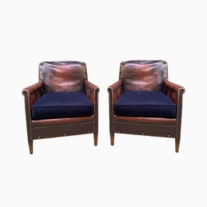 French Normandy Model Leather Club Chairs with Midnight Blue Velvet Cushions, 1910s, Set of 2