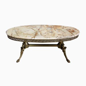 Marble Coffee Table with Oval Top, 1960s