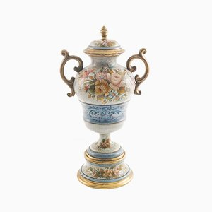 Large Floral & Gold Vase by G. Nico for Bassano, 1800s