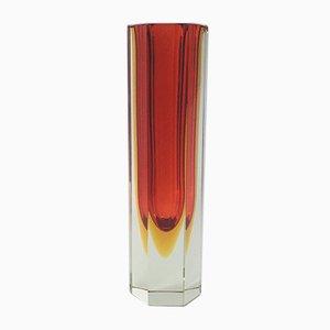 Large Hexagonal Sommerso Murano Glass Vase by Alessandro Mandruzzato, 1960s