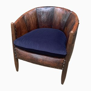Antique French Leather Club Chair Attributed to Paul Follot