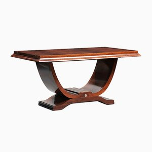 Art Deco Rosewood Lyre-Shaped Pedestal Dining Table, 1930s