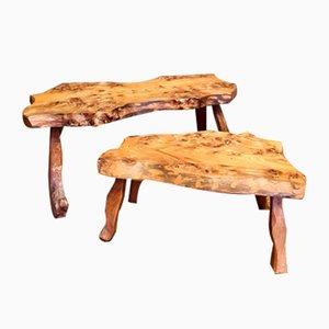 Vintage Natural Wooden Side Tables, Set of 2
