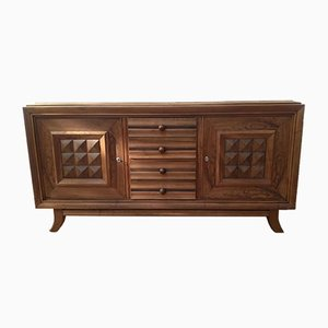 Mid-Century Walnut 3-Door Buffet by Charles Dudouyt