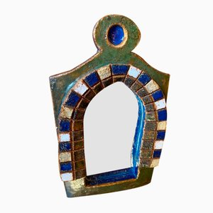 Mid-Century French Ceramic Mirror by Les Argonautes, 1960s