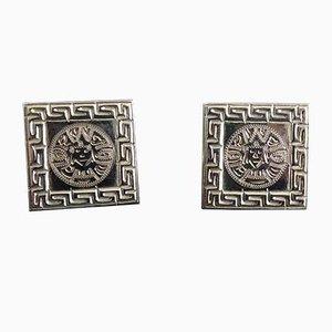 Gemelos cuadrados en oro blanco con estampado azteca. Juego de 2