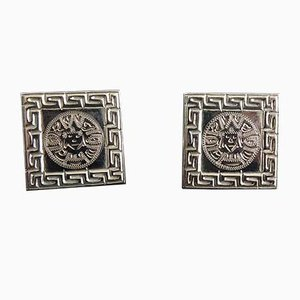 Square White Gold Cufflinks with Aztec Pattern, Set of 2