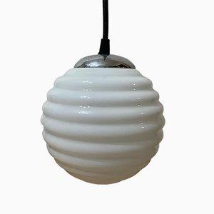 Art Deco White Opaline Ceiling Lamp, 1920s