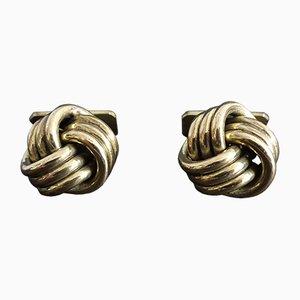 Boutons de Manchette en Forme de Noeud Doré, 1960s, Set de 2