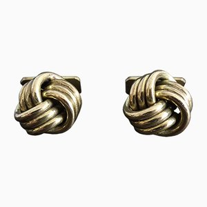 Gold Knot-Shaped Cufflinks, 1960s, Set of 2