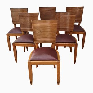 Art Deco Gondola Dining Chairs Attributed to Michel Roux-Spitz for Schoens Froment, 1930s, Set of 6