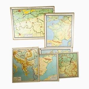Mapas escolares holandeses vintage de Noordhoff, años 50. Juego de 6