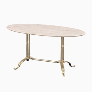 Mid-Century Italian Steel and Pink Marble Coffee Table, 1960s