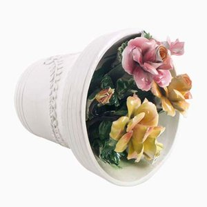 Ornamento da campana floreale in porcellana di Bassano, anni '40